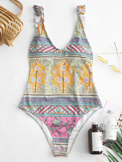 ZAFUL Floral Ruffle Backless Swimsuit - Multi-a L
