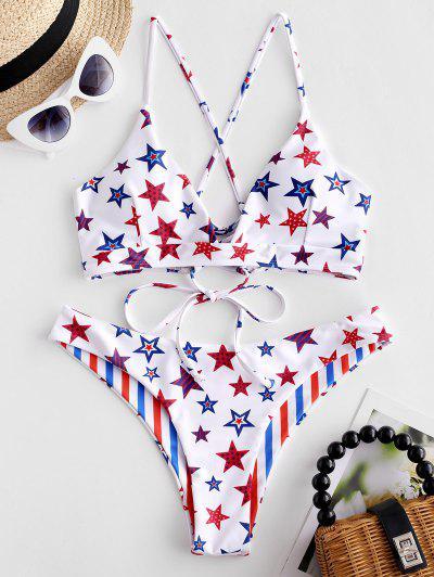 e6f0bd588e7 ... ZAFUL American Flag Crisscross Reversible Bikini Swimsuit - Multi-a S