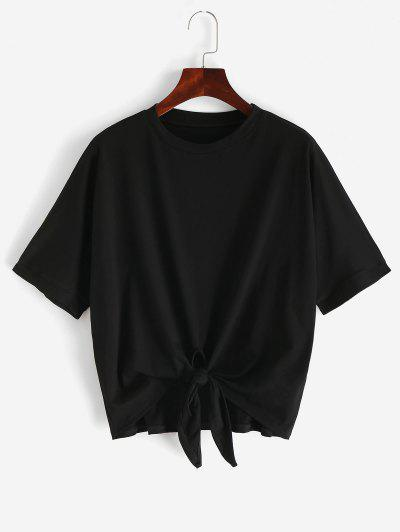 Round Neck Knotted Hem Solid Tee