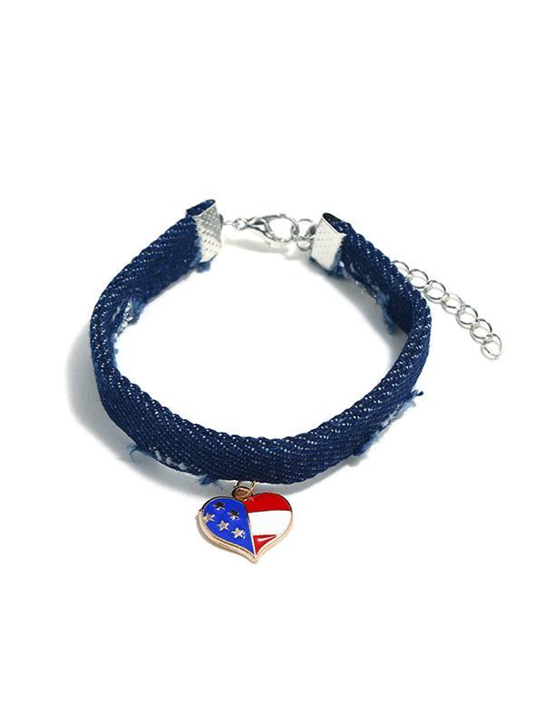 Flag Pattern Jeans American Star Pendant Bracelet