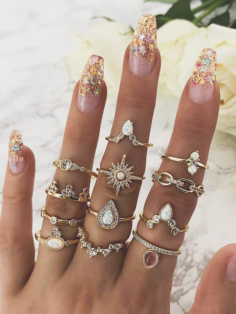 12-piece Teardrop Diamante Ring Set