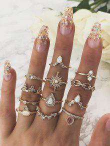12 قطعة مجموعة دمعة خاتم الماس - ذهب