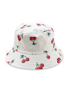 قبعة دلو نمط الفاكهة - أبيض