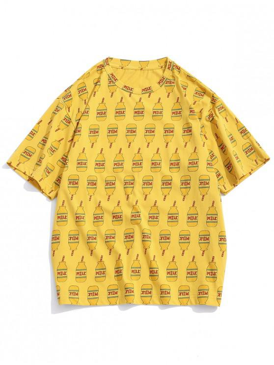 0cba7c1ac193 25% OFF] 2019 Milk Graphic Print Short Sleeves T-shirt In YELLOW | ZAFUL