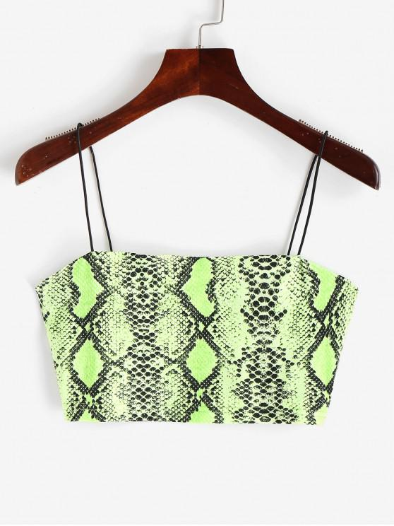 shop Snakeskin Print Neon Crop Cami Top - MULTI-L M