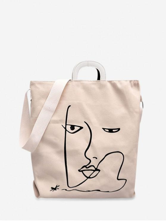 new Cartoon Pattern Canvas Tote Bag - WHITE