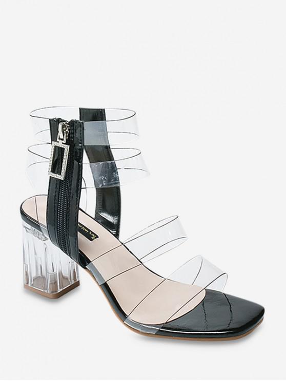 hot Rhinestone Decoration Chunky Heel Sandals - BLACK EU 38