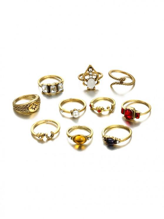 outfits 10Pcs Faux Gem Heart Ring Set - GOLD