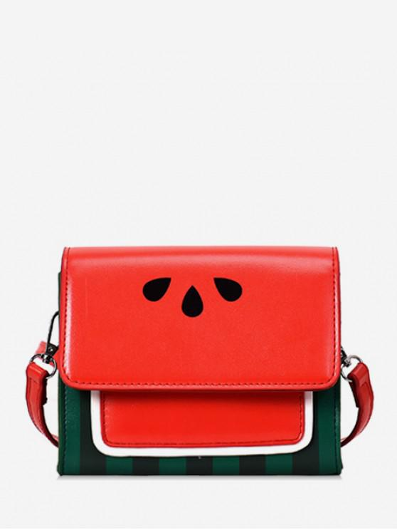 sale Watermelon Color Block Crossbody Bag - RED