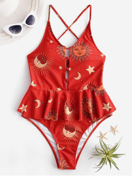 shop ZAFUL Sun and Moon Criss Cross Peplum Swimsuit - MULTI-B S