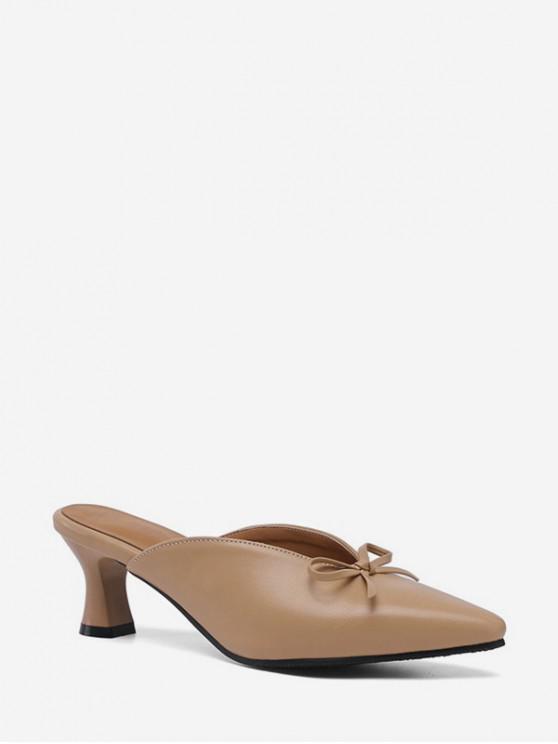 fancy Bowknot Design Chunky Heel Sandals - BROWN SUGAR EU 36