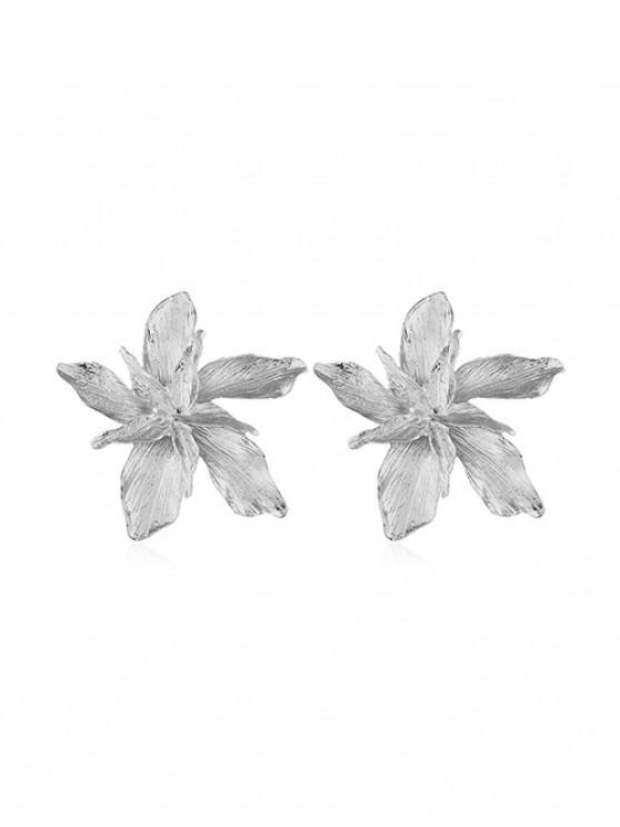 Boucles d'Oreilles Fleuries en Alliage - Argent