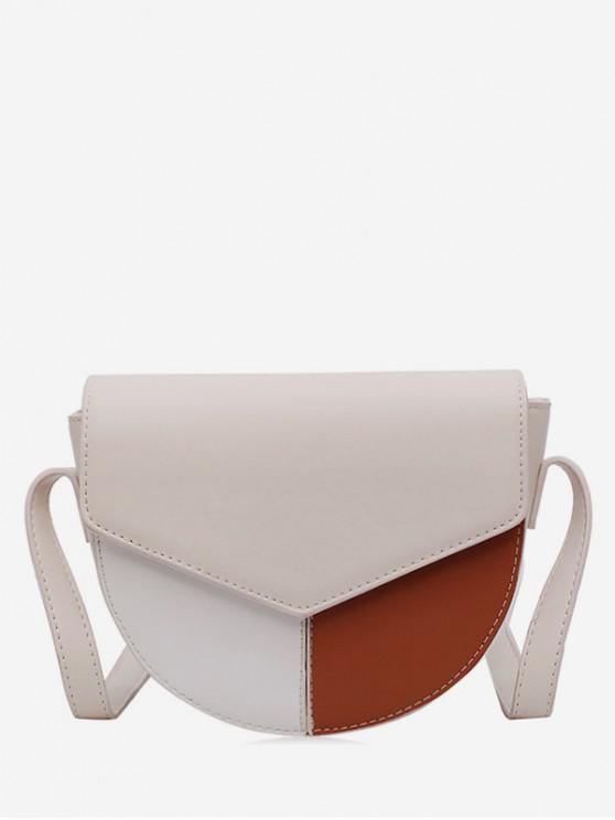outfit Jointed Leather Cover Semicircle Shoulder Bag - WHITE