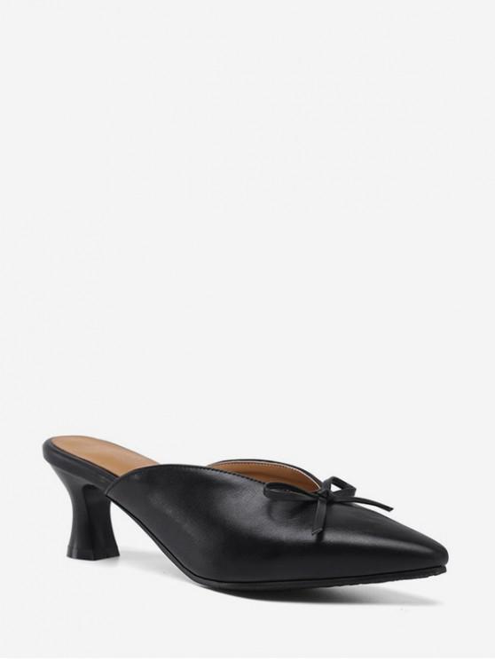 chic Bowknot Design Chunky Heel Sandals - BLACK EU 35