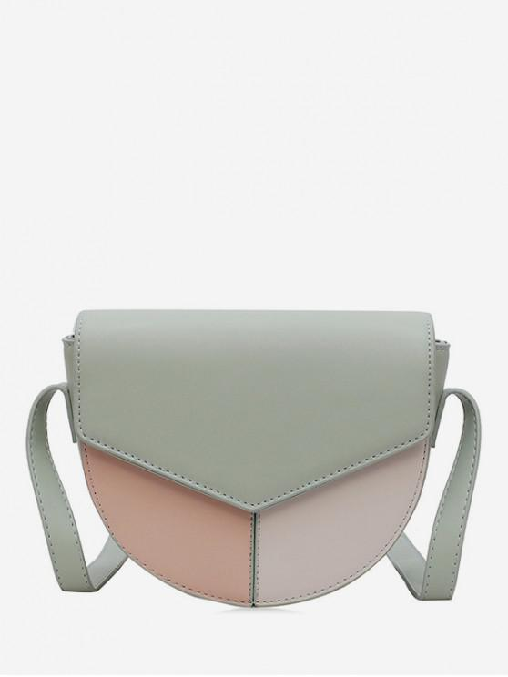 fancy Jointed Leather Cover Semicircle Shoulder Bag - DARK SEA GREEN