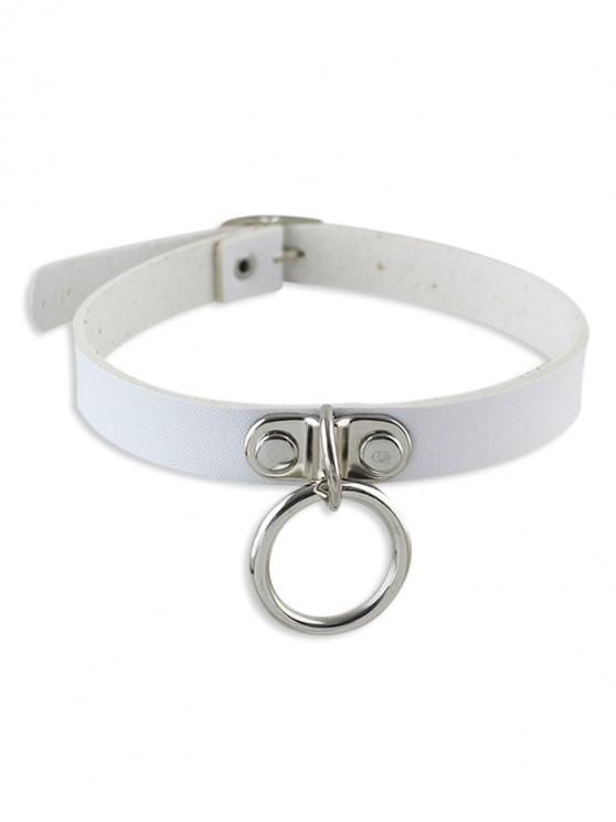 unique Punk Style Leather Stylish Choker Necklace - WHITE