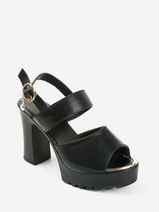 fashion Faux Pearl Buckle Strap Chunky Sandals - BLACK EU 37