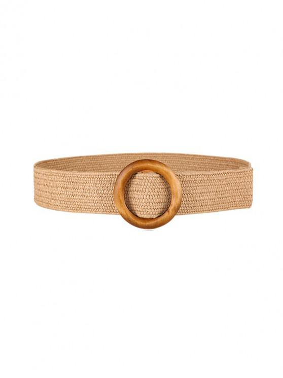 ladies Round Ring Decoration Woven Belt - BROWN SUGAR