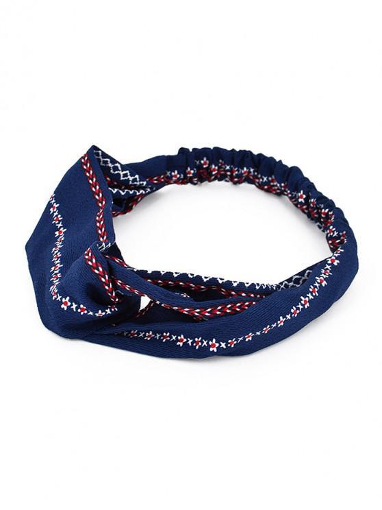 lady Cross Design Printed Headband - DENIM DARK BLUE