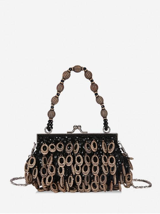 women Vintage Tassel Ethnic Style Shoulder Bag - BLACK