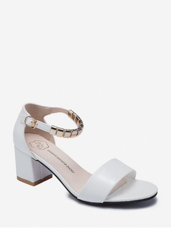 new Metal Decoration Chunky Heel Sandals - WHITE EU 35