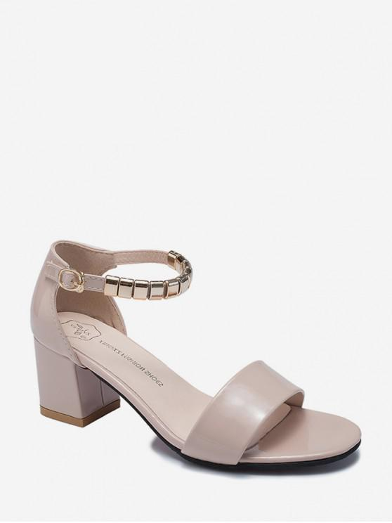 outfit Metal Decoration Chunky Heel Sandals - APRICOT EU 38