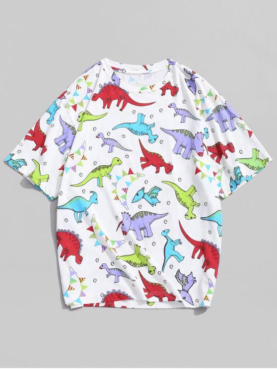 chic Dinosaur Graphic Print Short Sleeves T-shirt - WHITE S