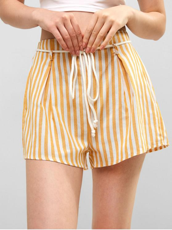 outfit ZAFUL Elastic Waist Striped Belted Shorts - MULTI M