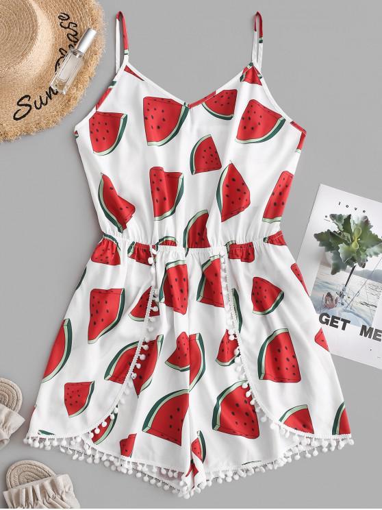 women ZAFUL Watermelon Pom Pom Tulip Romper - MULTI M