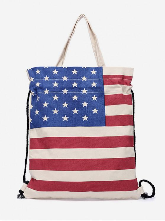 new Canvas String American Flag Pattern Tote Bag - MULTI