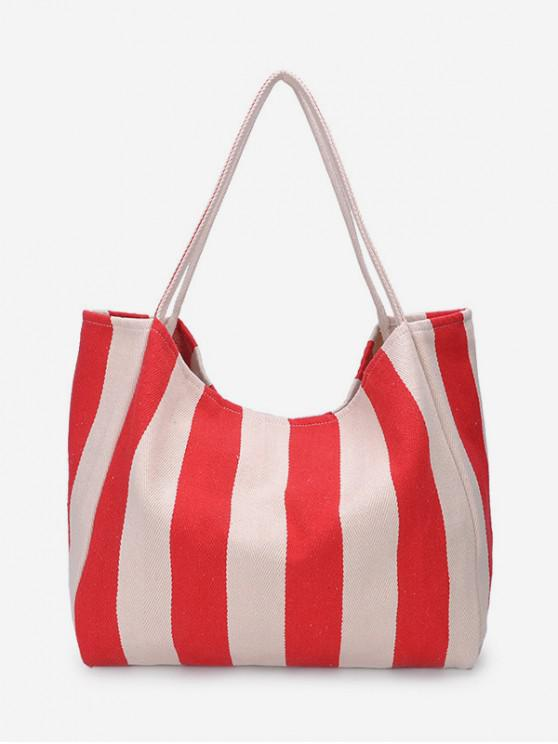outfit Striped Pattern Canvas Shoulder Bag - ROSSO RED