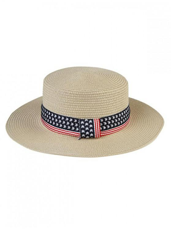 affordable American Flag Pattern Flat Top Hat - WARM WHITE