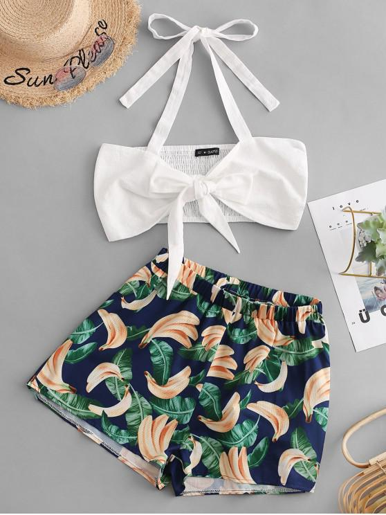 buy ZAFUL Contrast Tie Front Top And Banana Shorts Set - MULTI L
