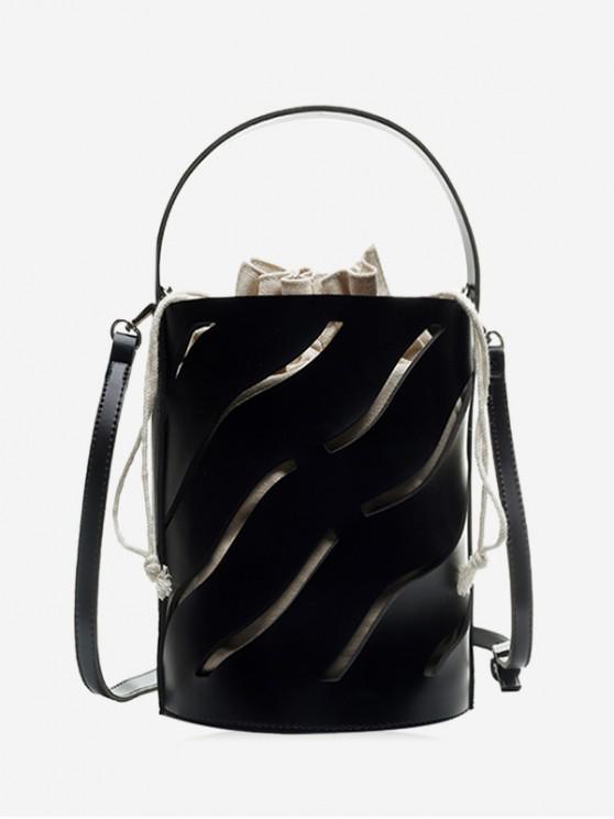 ladies Hollowed Out String Shoulder Bucket Bag - BLACK
