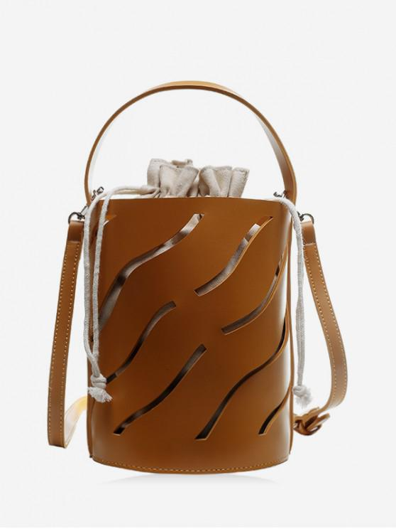womens Hollowed Out String Shoulder Bucket Bag - BROWN