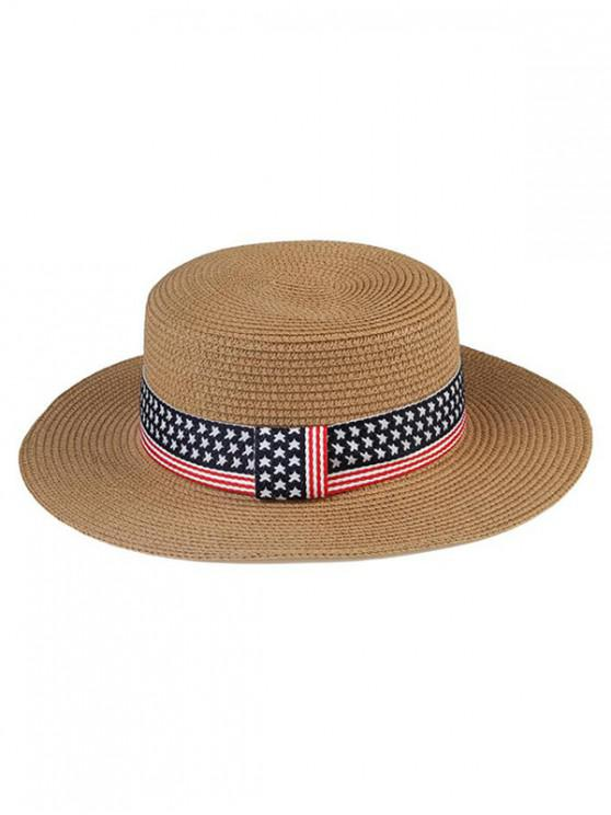 outfits American Flag Pattern Flat Top Hat - CARAMEL