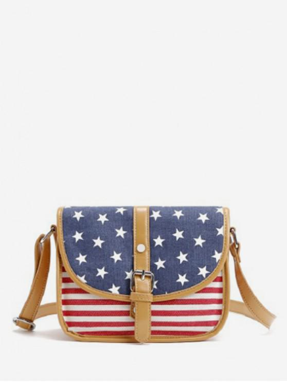 best Color Block American Flag Crossbody Bag - SLATE BLUE