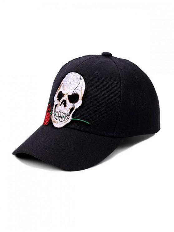 shops Skull Rose Embroidery Baseball Cap - BLACK