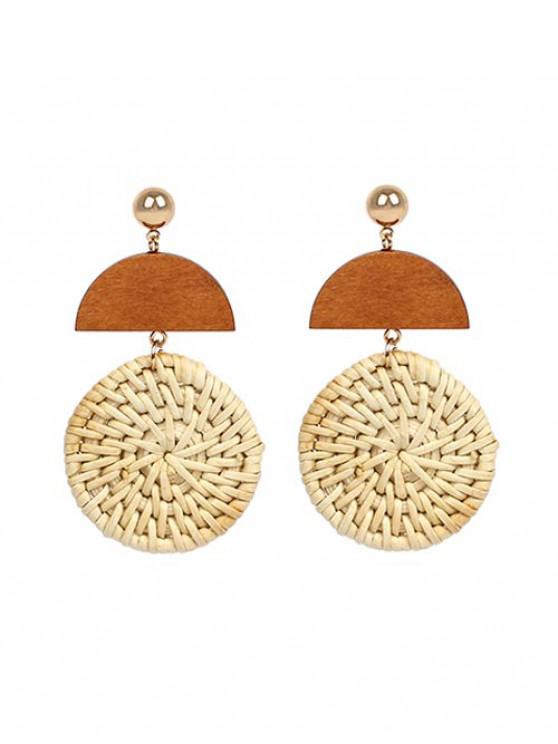women's Geometric Wood Straw Drop Earrings - CORNSILK