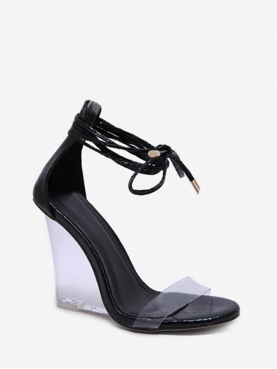 new Animal Print Transparent Wedge Heel Sandals - BLACK EU 39