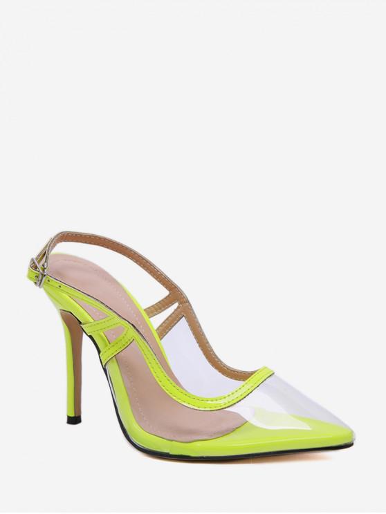 hot Pointed Toe Transparent High Heel Sandals - GREEN EU 39