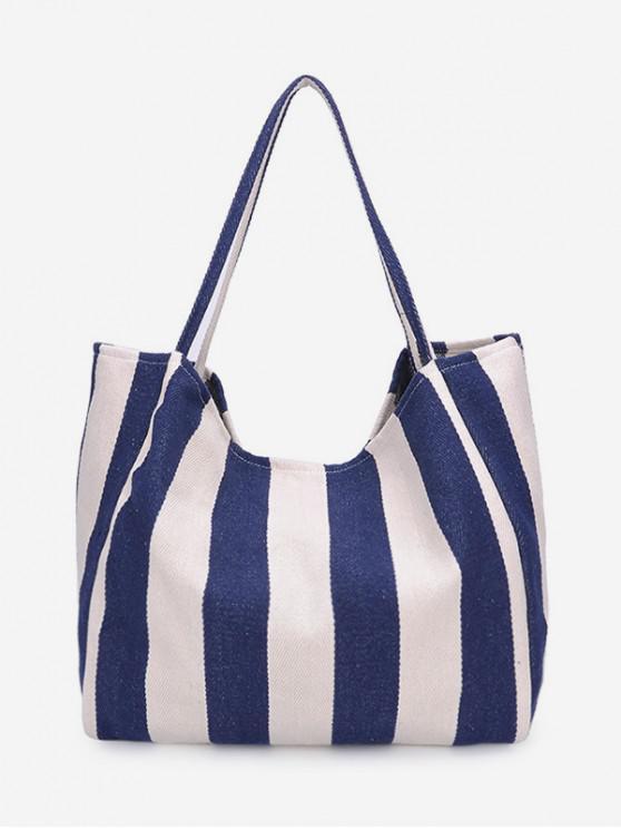 lady Striped Pattern Canvas Shoulder Bag - BLUE IVY