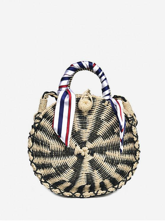 online Round Shape Beach Woven Straw Shoulder Bag - BLACK