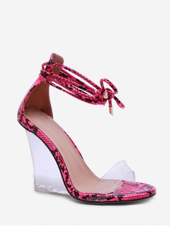latest Animal Print Transparent Wedge Heel Sandals - HOT PINK EU 39