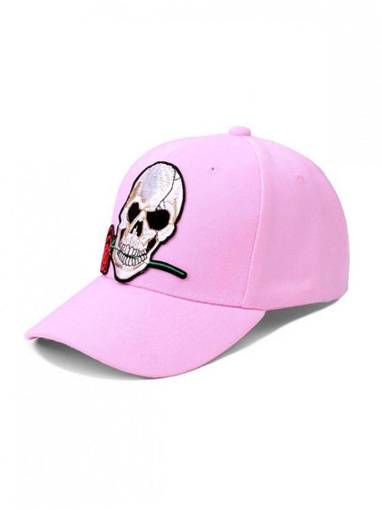 chic Skull Rose Embroidery Baseball Cap - PINK