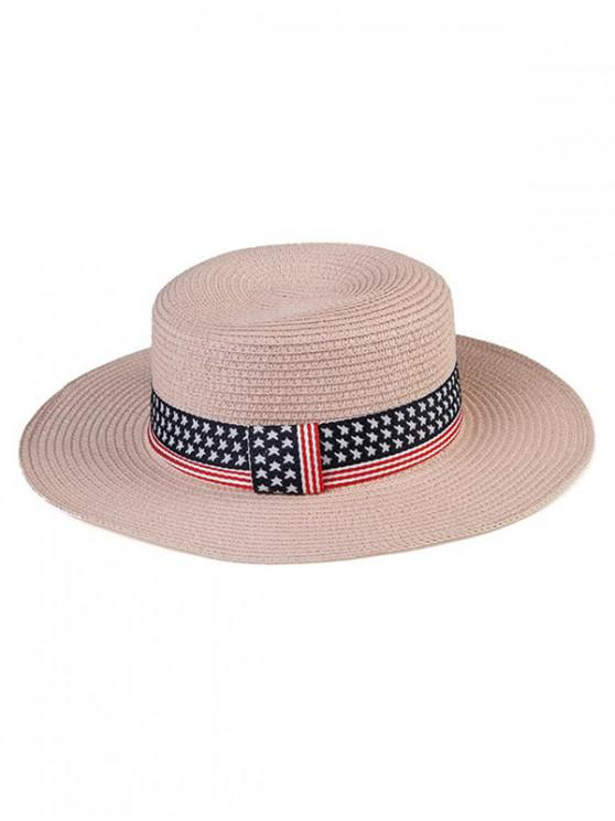 affordable American Flag Pattern Flat Top Hat - ROSE