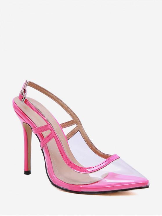 online Pointed Toe Transparent High Heel Sandals - HOT PINK EU 35