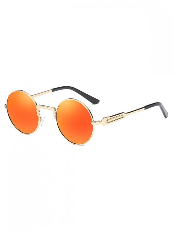 buy Metal Round Polarized Sunglasses - ORANGE