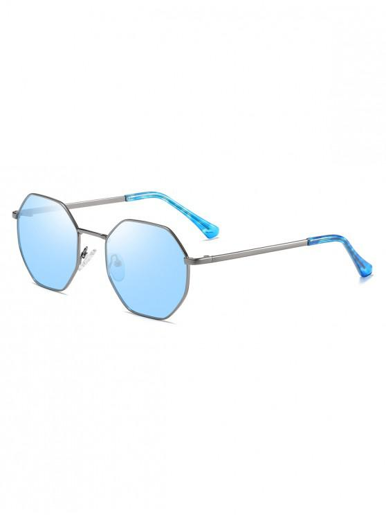 shops Anti UV Irregular Metal Sunglasses - BLUE GRAY