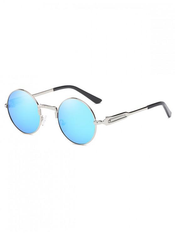 trendy Metal Round Polarized Sunglasses - DEEP SKY BLUE
